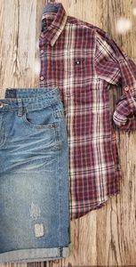 LUCKY BRAND BOYS BUNDLE Jean Shorts + Flannel Top